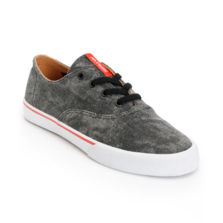 Supra Wrap Black, Red & White Canvas Shoe