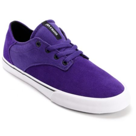 Supra Pistol Purple & White Suede Skate Shoe