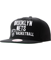 NBA Mitchell And Ness Brooklyn Nets Blocker Black Snapback Hat