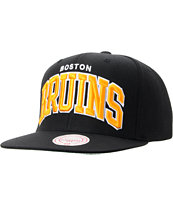 NHL Mitchell And Ness Boston Bruins Black Arch Snapback Hat