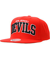 NHL Mitchell and Ness New Jersey Devils Arch Red Snapback Hat