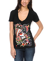Sullen Girls Gypsy Black V-Neck Tee Shirt