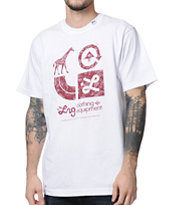 LRG CC Two White & Maroon Tee Shirt