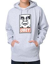 Obey OG Face Heather Grey Pullover Hoodie