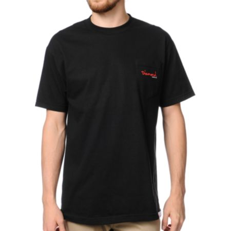Diamond Supply OG Script Black Pocket Tee Shirt
