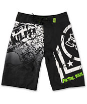 Metal Mulisha Boys Hoist Black, White & Green Board Shorts