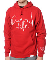 Diamond Supply Diamond Life Script Red Pullover Hoodie