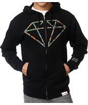 Diamond Supply Camo Rock Logo Black Zip Up Hoodie