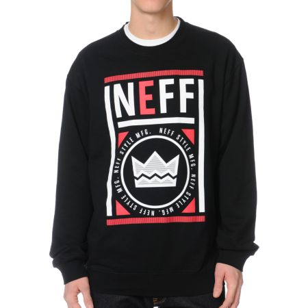 Neff Stamp Black Crew Neck Sweatshirt