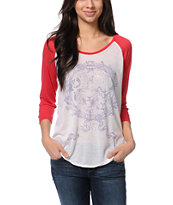 Insight Girls Kingdom White & Red Baseball Tee Shirt