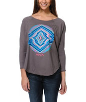 RVCA Girls Electric Eye Grey Long Sleeve Tee Shirt