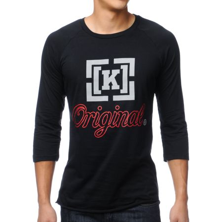 KR3W Original 3 Black Baseball Tee Shirt