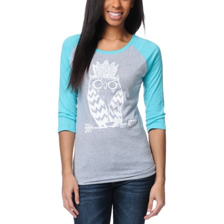 Ralik Tribe Owl Glow In The Dark Baseball Tee Shirt
