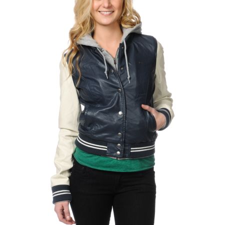 Obey Varsity Lover Navy Blue Faux Leather Jacket