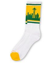 Skyline Socks Seattle Yellow & Green Crew Socks