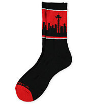 Skyline Socks Seattle Red & Black Crew Socks
