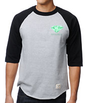 Diamond Supply Creators Raglan Black & Grey Baseball Tee Shirt