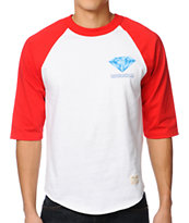 Diamond Supply Creators Raglan Red & White Baseball Tee Shirt