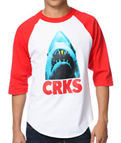 Crooks and Castles Big Bite White & Red Baseball Tee Shirt