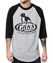 Crooks and Castles Bully Grey & Black Baseball Tee Shirt