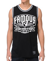 Famous Stars and Straps Brigade Black & Camo Mesh Tank Top