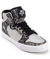 Supra Kids Vaider Silver & Snake Print Perforated Skate Shoe
