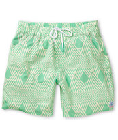Volcom More Mental Fun Green & Yellow 17 Board Shorts