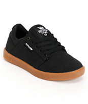 Supra Kids Westway Black & Gum Canvas Skate Shoe