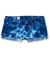 Volcom Girls Sound Check Navy Blue Tie Dye Cut Off Denim Shorts