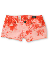 Volcom Girls High Voltage Red Tie Dye Cut Off Denim Shorts