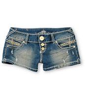 Almost Famous Stud Tinted Blue Denim Shorts