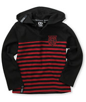 LRG Boys Black Ops Black & Red Thermal Knit Hooded Henley