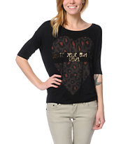Lira Girls Tough Luck Cheetah Black Top