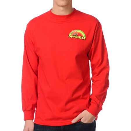 Odd Future Rainbow Cat Red Long Sleeve Tee Shirt