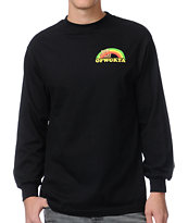 Odd Future Rainbow Cat Black Long Sleeve Tee Shirt