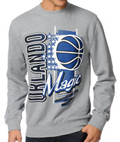 NBA Mitchell and Ness Magic Zip Zag Grey Crew Neck Sweatshirt