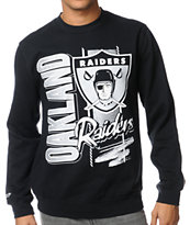 NFL Mitchell and Ness Raiders Zip Zag Black Crew Neck Sweatshirt