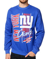 NFL Mitchell and Ness Giants Zip Zag Blue Crew Neck Sweatshirt