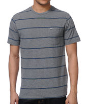 RVCA Emmet Striped Grey Stripe Knit Tee Shirt