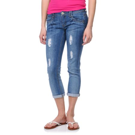 Jolt Marty Indigo Wash Cropped Jeans