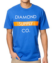 Diamond Supply Bar Logo Royal & Orange Tee Shirt