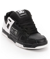 DC Stag Black & White Leather Skate Shoe