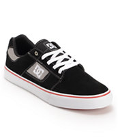 DC Bridge Black, Athletic Red & White Suede Skate Shoe