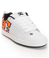 DC Court Graffik SE White & Neon Orange Skate Shoe