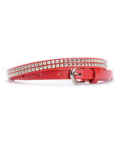 Super Trader Double Studded Red Skinny Belt