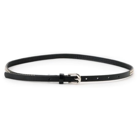 Super Trader Double Studded Black Skinny Belt