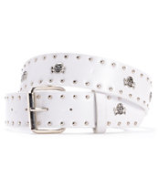 Super Trader White Skull Studded Belt