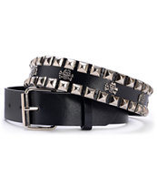 Super Trader Black Double Studded Belt