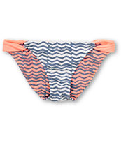 Gossip Coral, White & Grey Loop Side Reversible Bikini Bottom