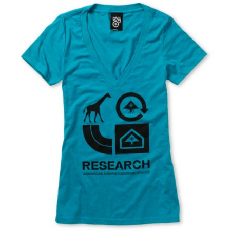 LRG Girls Grass Roots Teal V-Neck Tee Shirt